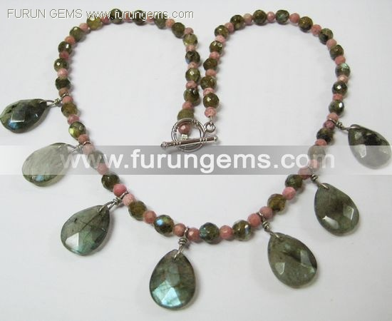labradorite faceted pear necklace