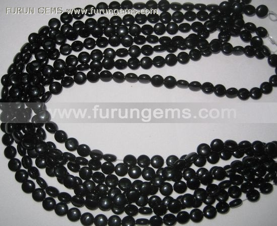 black onyx puff coin beads 6mm