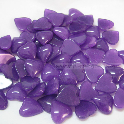 purple jade heart cabochons 16x15mm dyeing