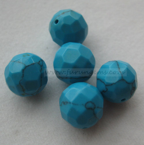 synthetic turquoise half hole beads