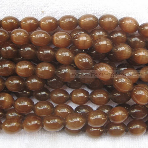 cat eye brown rice beads 11x14mm 2mm hole