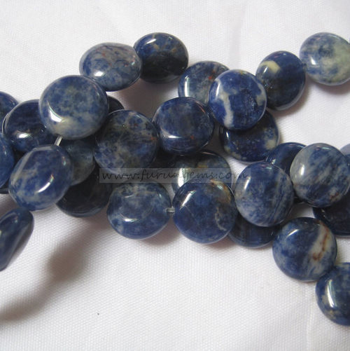 sodalite coin beads 12mm
