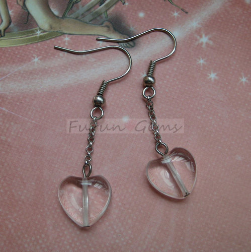 clear quartz crystal heart earring