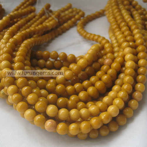 Jasper dark yellow jade round beads 7mm