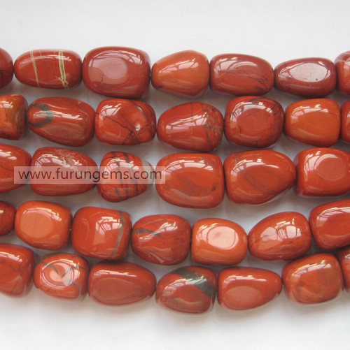 red jasper tumbled stone nugget 14x20mm around
