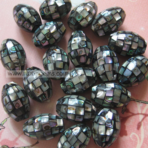 alone shell mosaic barrel beads 13x18mm
